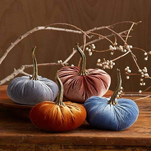 Velvet Pumpkins, SET of 4: Copper, Bronze, Gray, Slate Blue; Home Decor, Holiday Mantle Decor, Centerpiece, Fall, Halloween, Thanksgiving