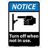 National Marker Corp. NGA23AB Notice, (Graphic) Turn Off When Not In Use Sign, 14 Inch X 10 Inch, 0.040 Alum