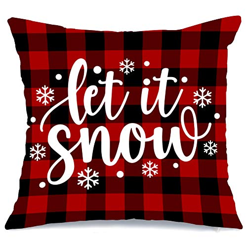 AENEY Christmas Pillow Cover 18x18 for Couch Red and Black Buffalo Check Plaid Let It Snow Throw Pillow Farmhouse Decorations Home Decor Xmas Decorative Pillowcase Faux Linen Cushion Case Sofa
