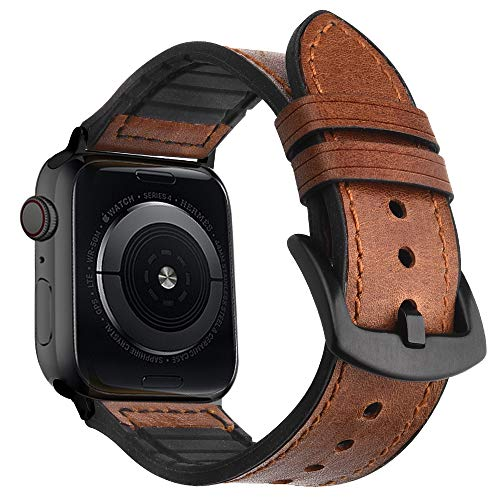 Goton Leather Sport Band Compatible with Apple Watch Leather Band 44mm 42mm, Genuine Leather with Soft Silicone Men Women for iWatch Band Series 4 3 2 1 (Brown-BC, 44mm 42mm) Brown Genuine Soft Leather