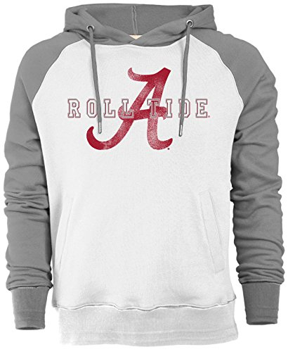 NCAA Alabama Crimson Tide Men's Sueded Fleece Pullover Hoodie, Medium, Ivory/Oxford (Ncaa Alabama Fleece Hoodie)