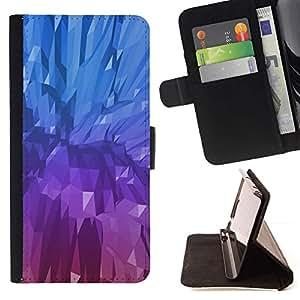 For Sony Xperia M4 Aqua Case , Crystal Blue Purple Pintura Mineral- la tarjeta de Crédito Slots PU Funda de cuero Monedero caso cubierta de piel