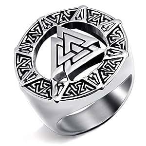 Elfasio Mens Stainless Steel Ring Band Valknut Scandinavn Odin Symbol Norse Viking Jewelry Size 8-14 (7)