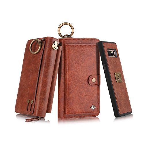 Galaxy Note 8 Zipper Wallet Case, B4Uebuy Multifunction Handmade Premium PU Leather [Detachable Wallet Folio][Build in Metal Plate][Wrist Lanyard] Purse & Card Slots for Samsung Galaxy Note 8 (Brown) (Best Penny Slots To Win On)