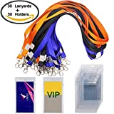 hotel card holder - 30 Pack Badge Holder with 3 Colors Lanyards, DanziX Waterproof Vertical Name Tag ID Card Holder, Heavy Duty Sealable Vinyl PVC ,Size 2.7''4.7''- Clear