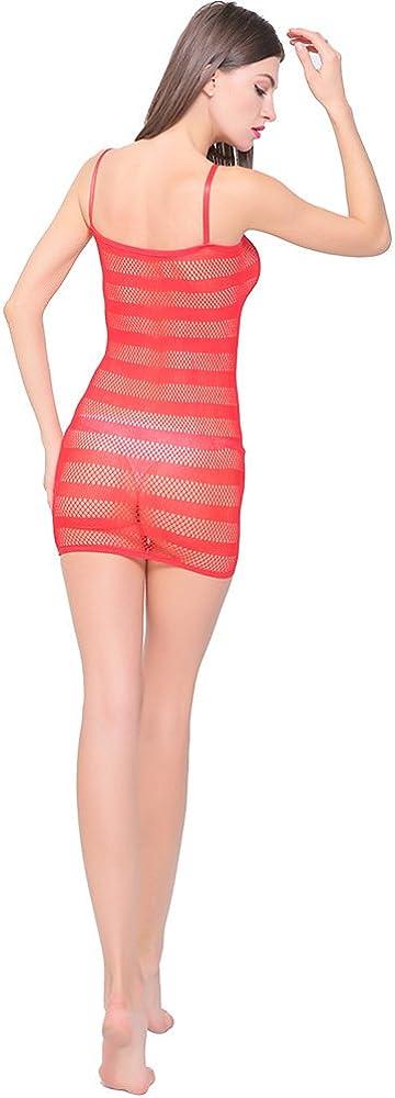 Yulaixuan Womens Fischernetz Nachthemd Dessous Mesh Loch Chemise Badydoll dehnbaren Mini Kleid 2-Pack