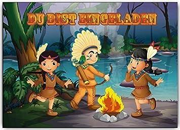 Einladungskarten Kindergeburtstag Indianer Indianerparty Indianer Feier (8  Stück) Set Abenteuer Cowboy Jungen Mädchen