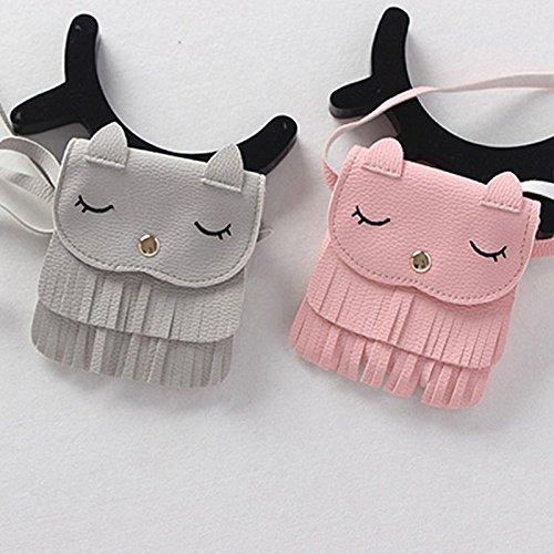 bolsa monedas pequeña niñas Mini monedero bolsos de cuero de PU borla de mensajero gato Hrph del Cute del cartera Rosado niños hombro XFgOwISxq
