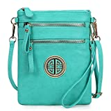 Solene Women's Faux Leather Organizer Multi Zipper Pockets Handbag With Detachable Wristlet Crossbody Bag (Turquoise)