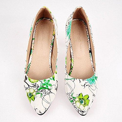Escarpins MissSaSa Fleurs Femmes Vert Décorations des Ox1x0vSwq