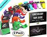"Blue Kinesiology Tape Pro 2"" x 16.5' (2 Pack) by Physix Gear Sport, Best Waterproof Muscle Support Adhesive, Physio Therapeutic Aid, Includes 82pg Step by Step Taping E-Guide"