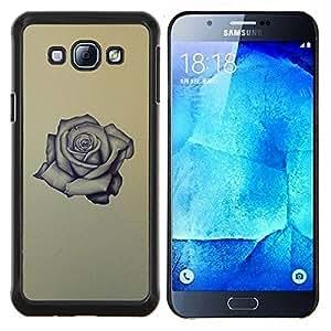 TECHCASE---Cubierta de la caja de protección para la piel dura ** Samsung Galaxy A8 ( A8000 ) ** --Rose Tattoo roca rodillo de tinta aman amarilla