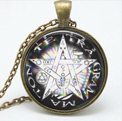 Vintage Art Glass Dome Necklace, Wiccan Pentagram Jewelry ,Easter Gift