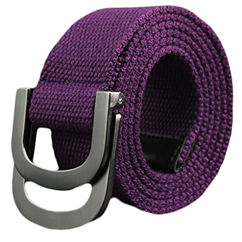 Ayli Men's Canvas Webbed Belt, Canvas Double Ring Metal Buckle, Purple, Fits Pant Sizes From 40