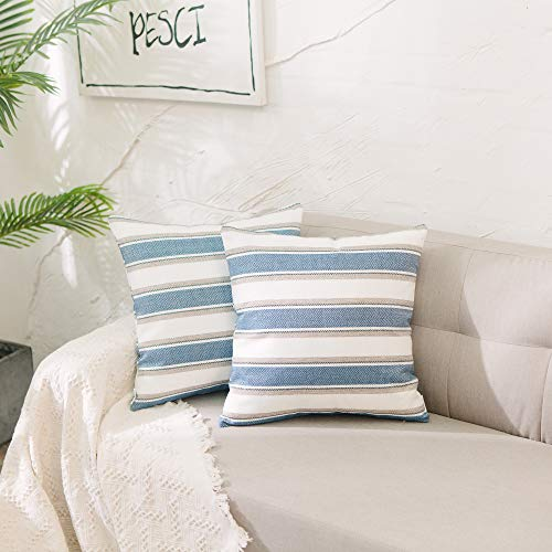 (NATUS WEAVER 2 Pack Stripe Pillow Case Soft Faux Linen Square Decorative Throw Cushion Cover Pillowcase with Hidden Zipper for Sofa Car Sofa Living Room 14