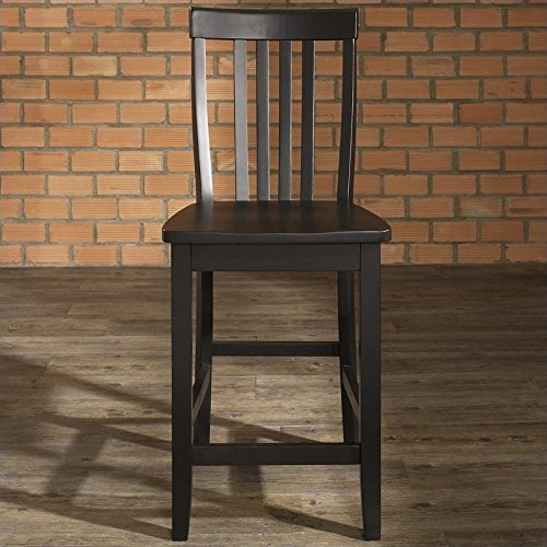 - Crosley Furniture CF500324-BK Schoolhouse Bar Stool (Set of 2), 24-inch, Black
