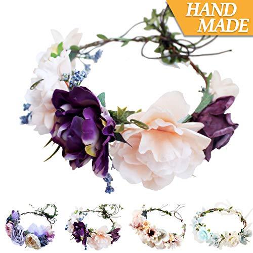 (Handmade Adjustable Flower Wreath Headband Halo Floral Crown Garland Headpiece Wedding Festival Party (D-(Purple+Light)
