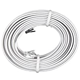 Extension Cords TRISONICEXTENSIONCABLE25FT Feet RJ11 4C Modular Telephone Extension Phone Cord Cable Line Wire , White