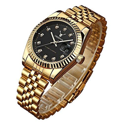 Fashion Luxury Stainless Steel Calendar Diamond Luminous Waterproof Sports Women Or Men Quartz Watch (Gold Black)
