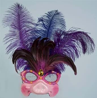 Lady Pig Mardi Gras Half Mask