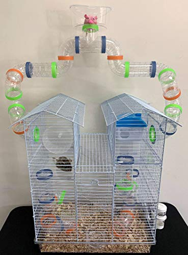 New 3 Level Sparkle Clear Transparent Syrian Hamster Mice Mouse Rat Cage with Large Top Running Ball (Green) (Giant Cage Hamster)