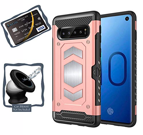 (Galaxy S10 Plus Case - Samsung Galaxy S10+ Case with Card Holder and Magnetic Iron Back for Car Mount - Full Body Armor Slim Heav Duty PC & TPU Cases Cover - (Pink - S10 Plus))