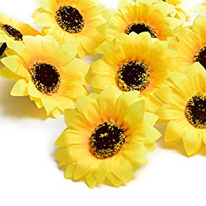 "HUIANER Artificial Sunflower Heads, 2.36"" Fake Simulation Flower Head for Home Party Wedding Cake Decoration, 50 PCS 7"