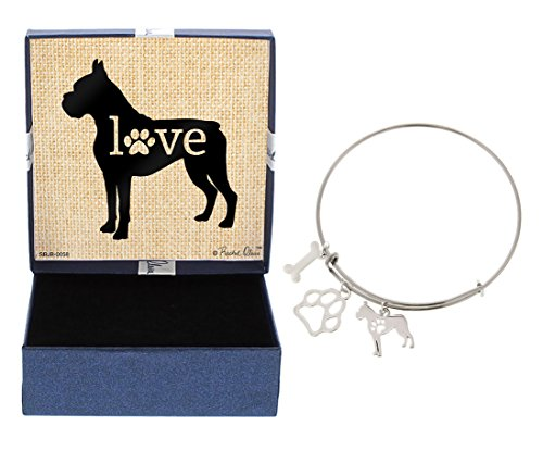 Boxer Bracelet Gift Love Dog Breed Adjustable Bangle Charm Silver-Tone Bracelet Gift Boxer Owner Jewelry Box Keepsake Idea A Rescue Dog Mom