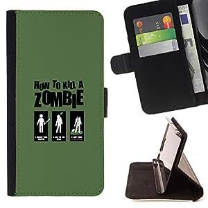 BullDog Case - FOR/Sony Xperia Z3 D6603 / - / Zombie Killing Guide - Funny /- Monedero de cuero de la PU Llevar cubierta de la caja con el ID Credit Card Slots Flip funda de cuer