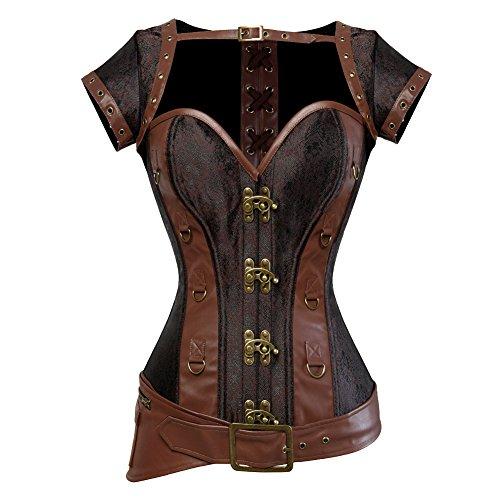 Texinlun Women's Spiral Steel Boned Retro Gothic Bustier Corset