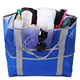 Mesh Beach Bag Tote Toy Bag Zippered Pockets Picnic Tote Large Lightweight Market Grocery Beach Tote Bag for Women and Men (Blue)