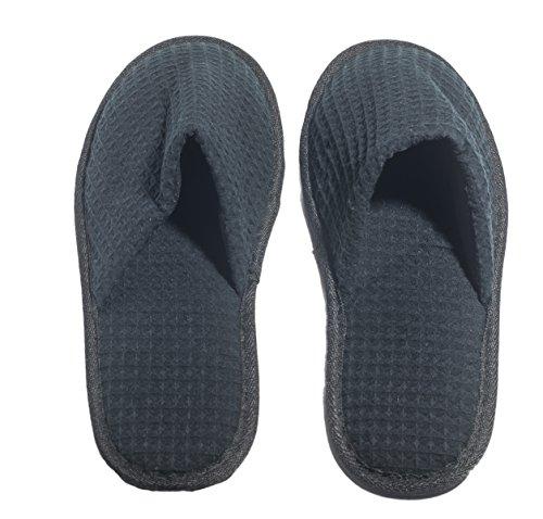 Nkbk 6 Zapatillas De Baño Waffle De Un Color Con Un Dedo Cerradas Negras