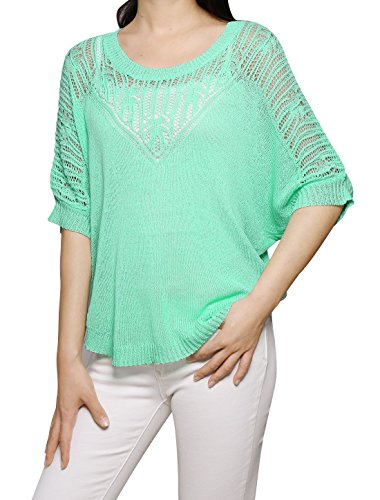 Allegra K Women's Round Neck Half Batwing Sleeves Knit Shirt L Mint - Waist Nylon Knit Shirt