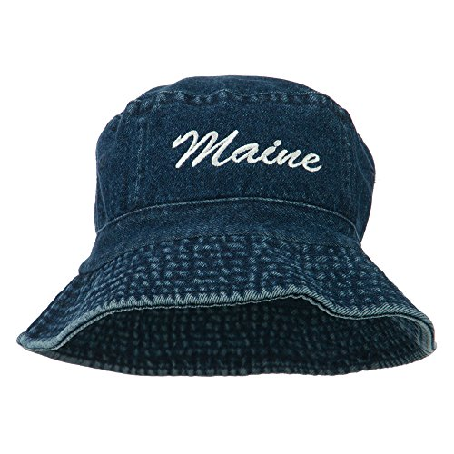 e4Hats.com Maine Embroidered Bucket Hat - Denim -