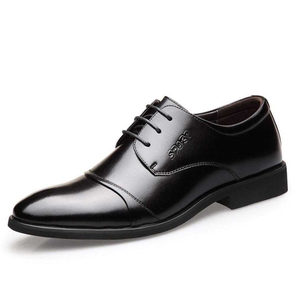 Koyi Herren Lederschuhe Neue Business Kleid Schuhe Spitz Gummisohle mit Britischen Schuhen Mikrofaser Gummisohle Spitz schwarz d8ff63