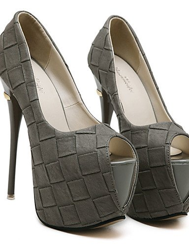GGX/ Damenschuhe-High Heels-Kleid / Party & Festivität-PU-Stöckelabsatz-Zehenfrei / Komfort-Schwarz / Grau gray-us6.5-7 / eu37 / uk4.5-5 / cn37
