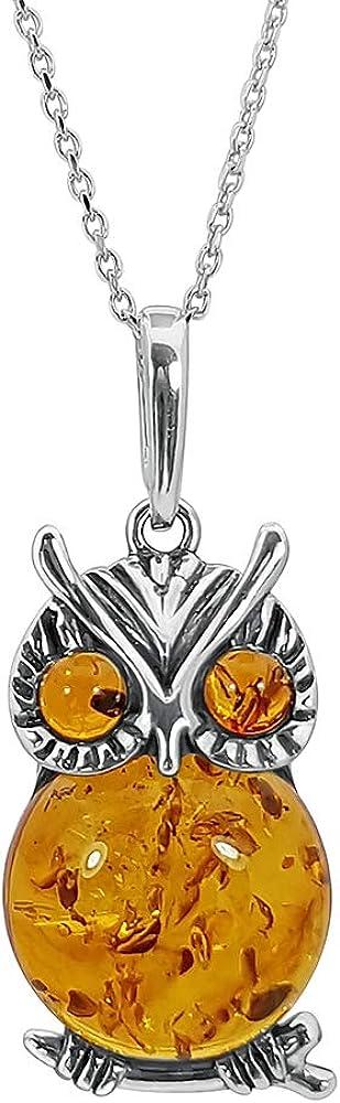 Kiara Jewellery - Collar con colgante de búho grande de plata de ley 925 con incrustaciones de ámbar báltico marrón en cadena de plata de ley de 45,7 cm