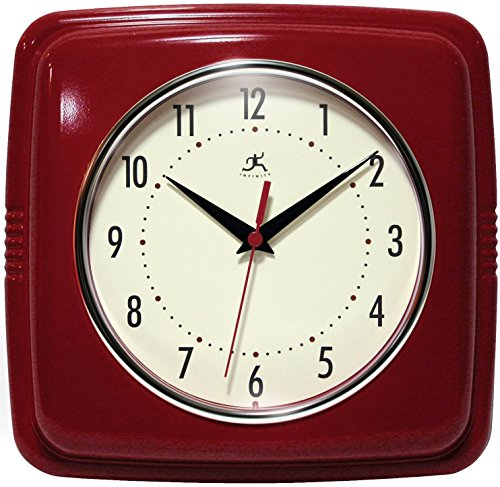 Red Kitchen Square Clock Old Fashioned Kitchen Design Idea
