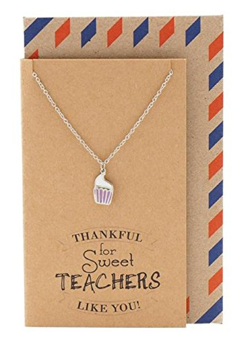 - Quan Jewelry Best Teacher Appreciation Necklace with Cupcake Pendant and Thank You Card, Gifts for Women, 16-inch to 18-inch