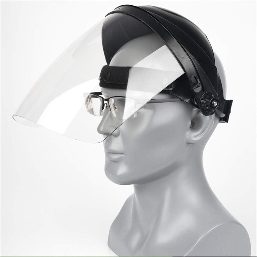PORIN Protector Facial de Seguridad Protección de la Cabeza del Ojo Protector Transparente de policarbonato para soldar para Todo Uso con Protector Facial con trinquete,Negro