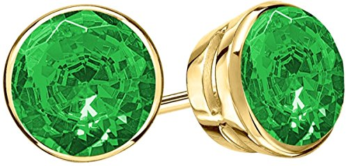 1 1/2 1.5 Carat Total Weight Emerald Solitaire Stud Earrings Pair 18K Yellow Gold Popular Premium Collection Bezel Push - Gold Emerald Yellow Earings