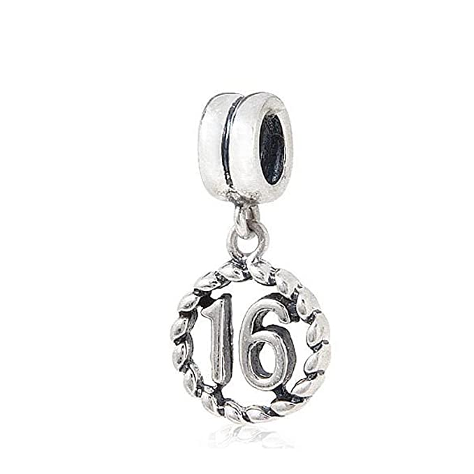 7493e7ebd Image Unavailable. Image not available for. Color: My Sweet Sixteen Charm - 925  Sterling Silver Beads - Fit for DIY ...