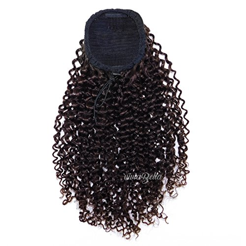 "Specially Priced Soft Afro Curly Clip in/on Ponytail Extensions Jerry Curly Ponytail Hair Piece Clip ins Brazilian Virgin Hair Top Closure Ponytail (90g 10"", Dark Brown)"