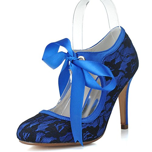 L Femmes Ribbon Court blue Lace Talons Closed Ball bas YC Toe TU 06 5623 Chaussures 5rPxqrgnw
