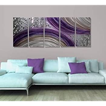 abstract purple and silver modern metal wall art painting decor winter solstice by jon allen