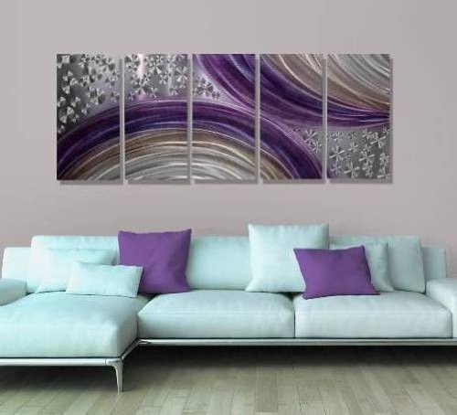 Abstract Purple and Silver Modern Metal Wall Art Painting Decor - Winter Solstice by Jon Allen - 64
