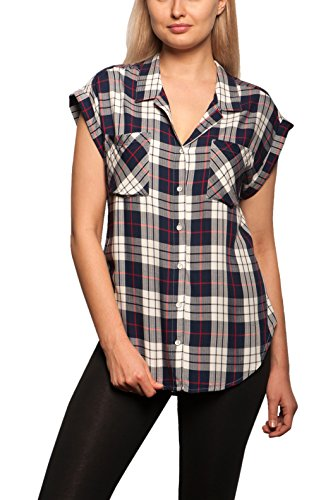 Jachs Women's Cap Sleeve Button Down Shirt - Short Sleeve Printed Blouse - White/Navy/Red, XX-Large Plus (Cap Sleeved Shirt)