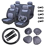 70 impala steering wheel - ECCPP Universal Car Seat Cover w/Headrest/Steering Wheel/Shoulder Pads - 100% Breathable Mesh Cloth Stretchy Durable for Most Cars Trucks Vans(Gray/Black)