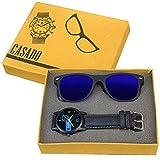 CASADO BLACK SLIM Series Round Analog Wrist Watch and 1 Blue Reflector Wayfraer Sunglasses for Men's AND Boy's