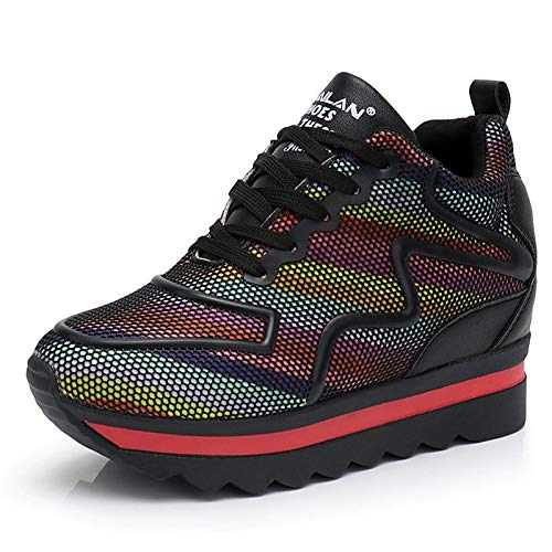 Creepers ZHZNVX Spring Round Shoes Black Rainbow Toe Rainbow PU Women's Microfiber Synthetic Comfort Sneakers 8Xgx8rqFw